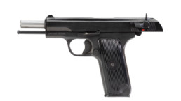 m57a pistol blued open slide left angle