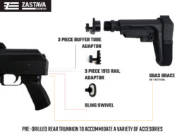 NEW ZPAP92 ak firearm pre-drilled trunnion accessories view