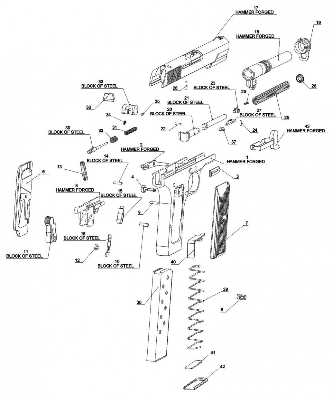 Parts Handguns chart exploded view m57aa pistol