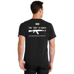 back view t shirt black pap is back logo zastava arms