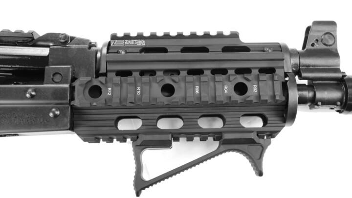 close angle quad rail 1913 rail pistol zpap grip